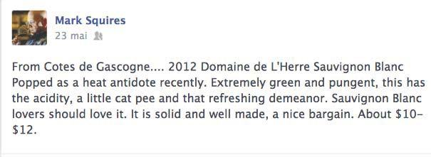 MARK SQUIRES FROM WINE ADVOCATE LOVES DOMAINE DE l'HERRE SAUVIGNON